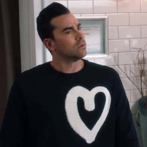 David Rose graffiti heart sweater