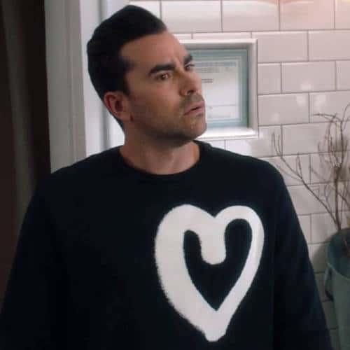 David Rose graffiti heart sweater