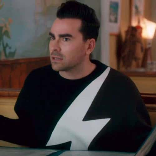 David Rose lightning bolt sweater