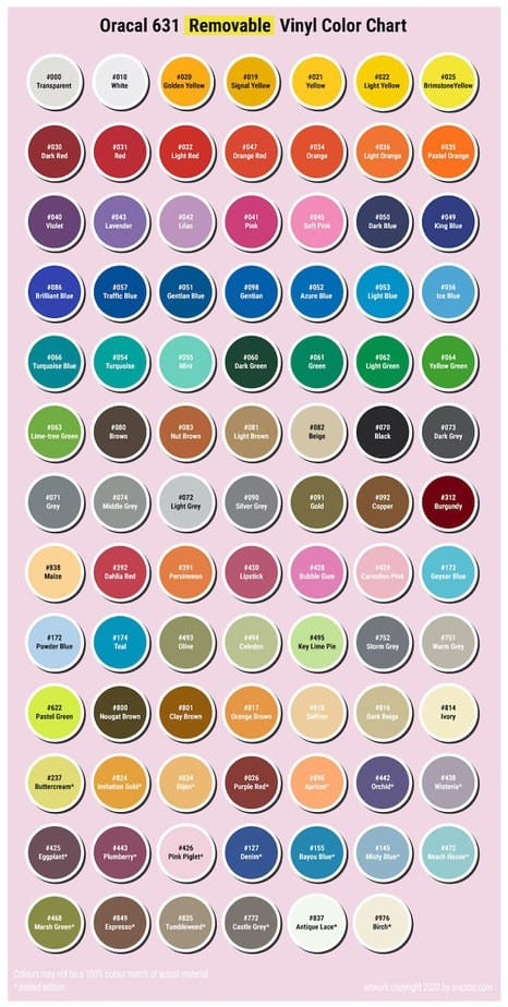 oracal 631 removable vinyl color chart
