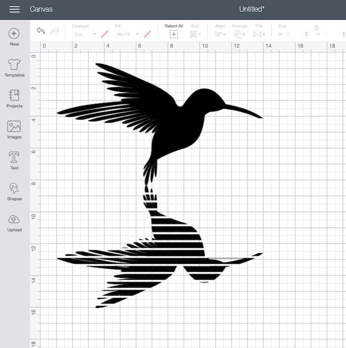hummingbird svg in cricut design space