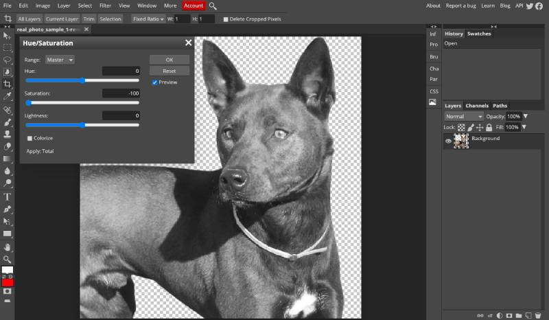 desaturate images in Photopea to remove all color
