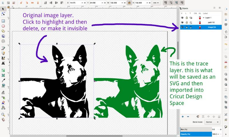 differentiating between the image layer and path layer after tracing bitmap in inkscape