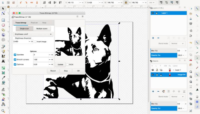 trace bitmap into vector in inkscape