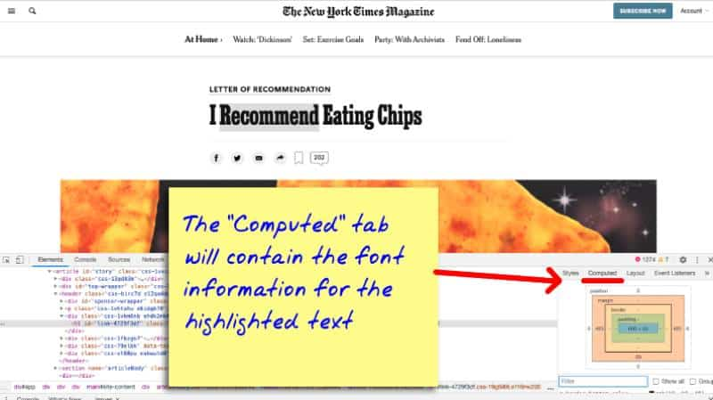 How to find the font family name in the browser inspector window