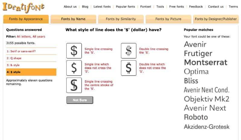 Identifont questionnaire screengrab
