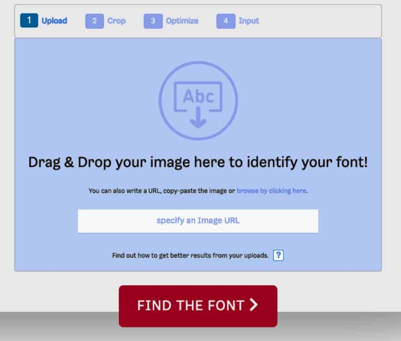 how to upload images to a font identifying website