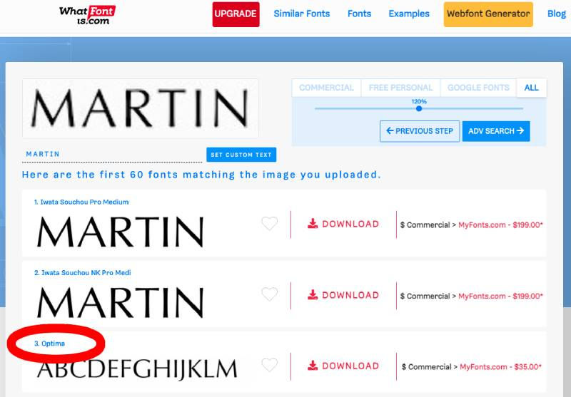 whatfontis.com successfully identifies the Aston Martin logo font